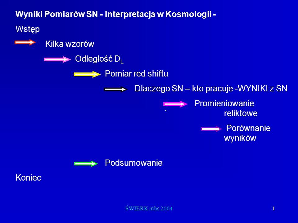Wyniki Pomiarów SN - Interpretacja w Kosmologii - Wstęp Kilka wzorów