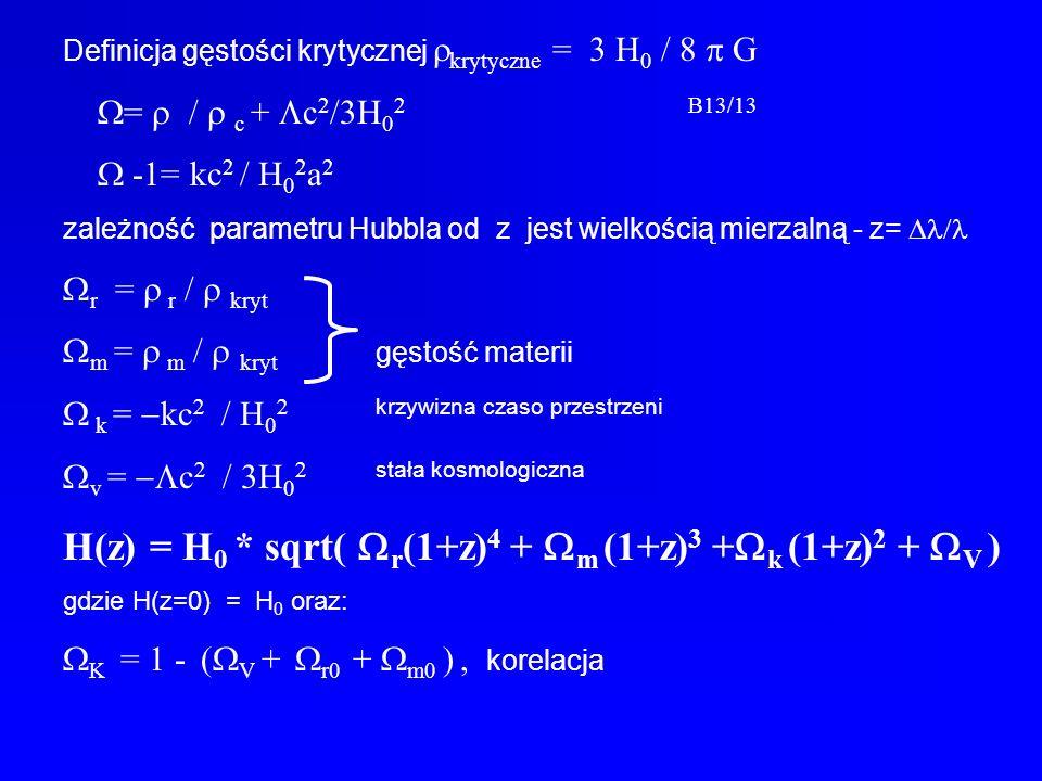 H(z) = H0 * sqrt( Wr(1+z)4 + Wm (1+z)3 +Wk (1+z)2 + WV )