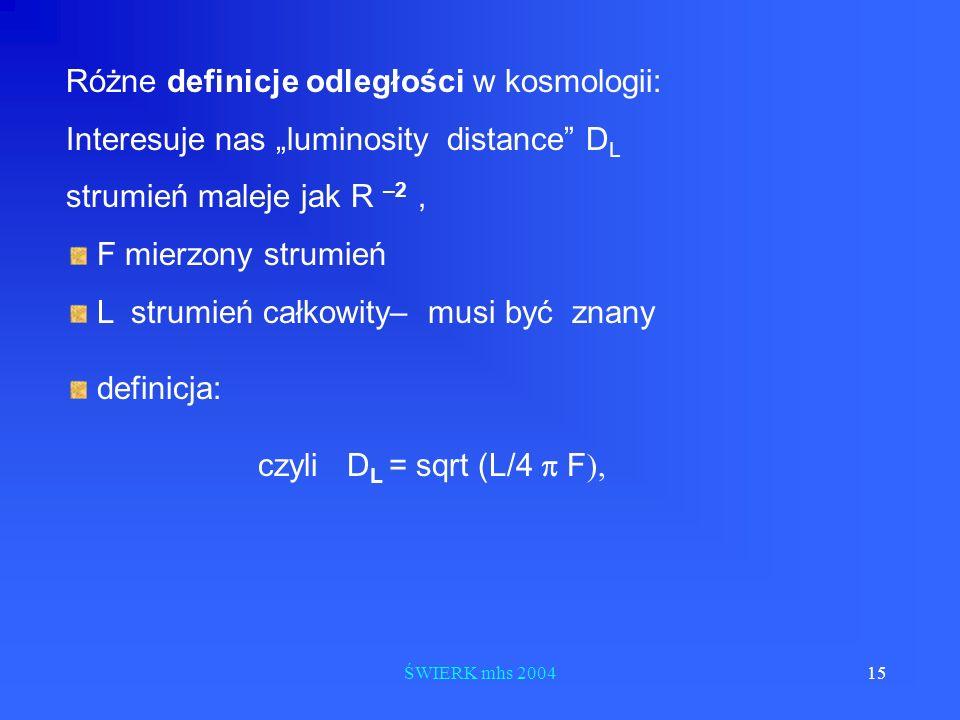 Różne definicje odległości w kosmologii: