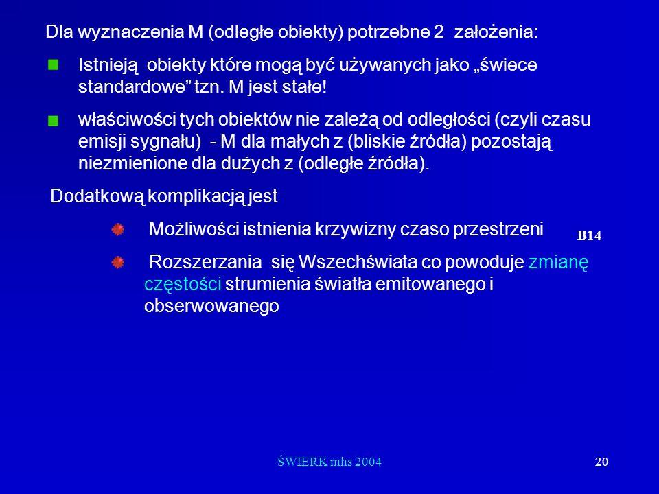 Dla wyznaczenia M (odległe obiekty) potrzebne 2 założenia: