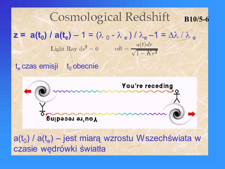 z = a(t0) / a(te) – 1 = (l 0 - l e ) / le –1 = Dl / l e