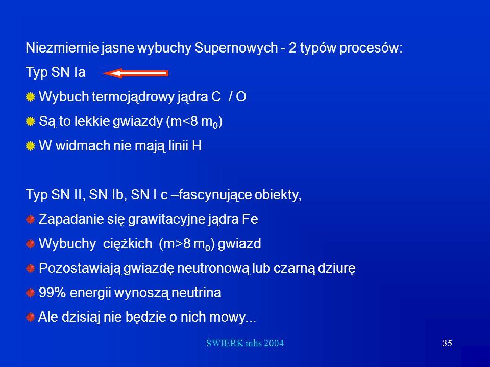 Niezmiernie jasne wybuchy Supernowych - 2 typów procesów: Typ SN Ia