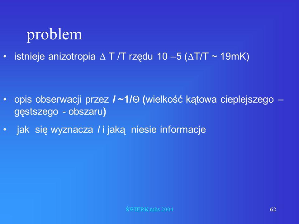 problem istnieje anizotropia D T /T rzędu 10 –5 (DT/T ~ 19mK)