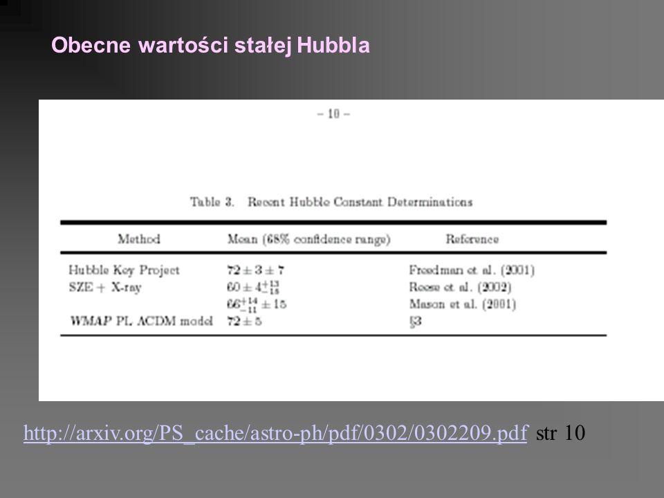 Obecne wartości stałej Hubbla