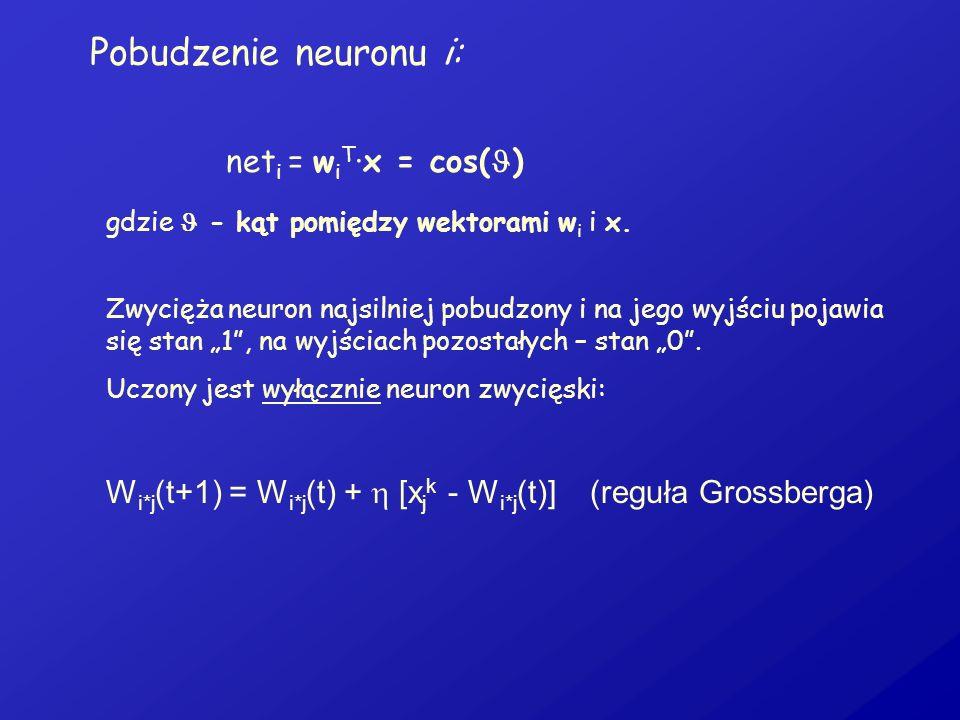 Pobudzenie neuronu i: neti = wiT·x = cos()