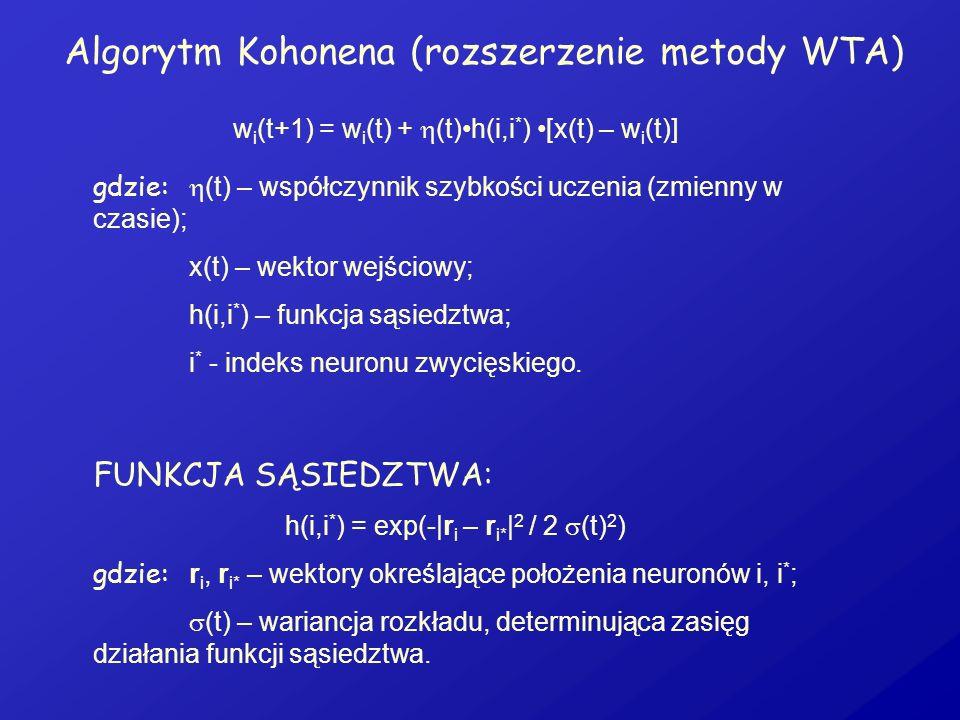 Algorytm Kohonena (rozszerzenie metody WTA)