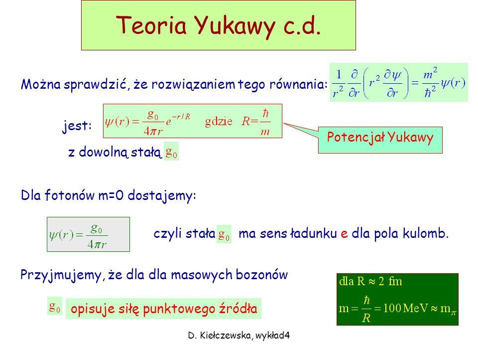 Teoria Yukawy c.d. Można sprawdzić, że rozwiązaniem tego równania: