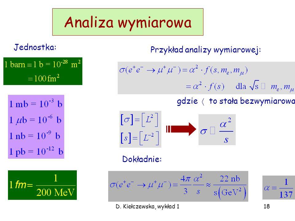 Analiza wymiarowa Jednostka: Przykład analizy wymiarowej: