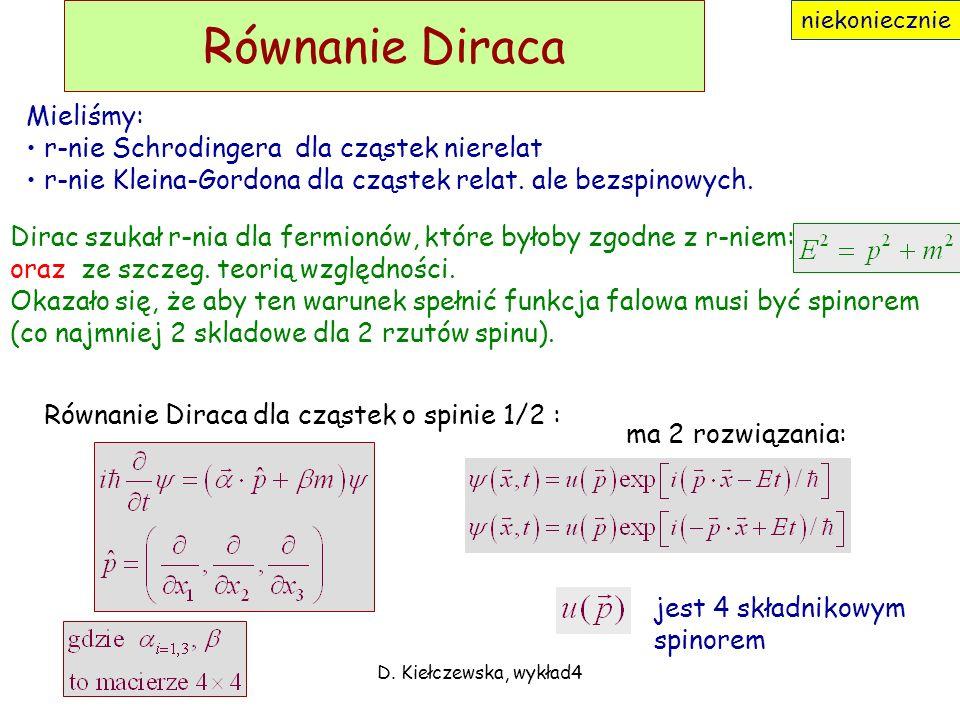 Równanie Diraca Mieliśmy: r-nie Schrodingera dla cząstek nierelat