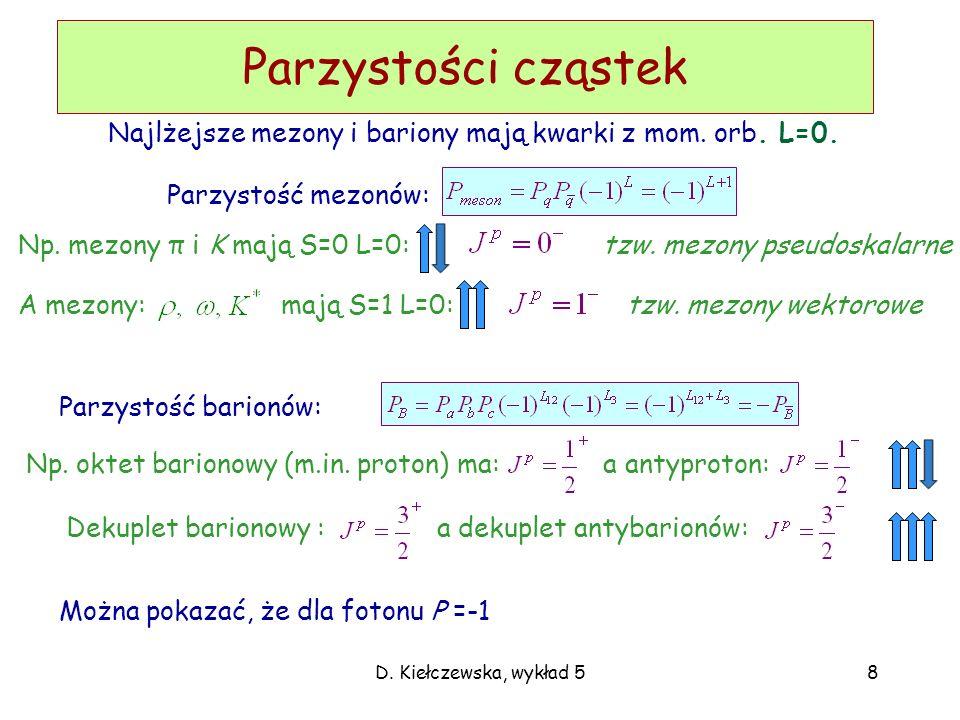 Parzystości cząstek Najlżejsze mezony i bariony mają kwarki z mom. orb. L=0. Parzystość mezonów: Np. mezony π i K mają S=0 L=0: