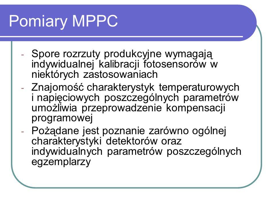 Pomiary MPPC Spore rozrzuty produkcyjne wymagają indywidualnej kalibracji fotosensorów w niektórych zastosowaniach.