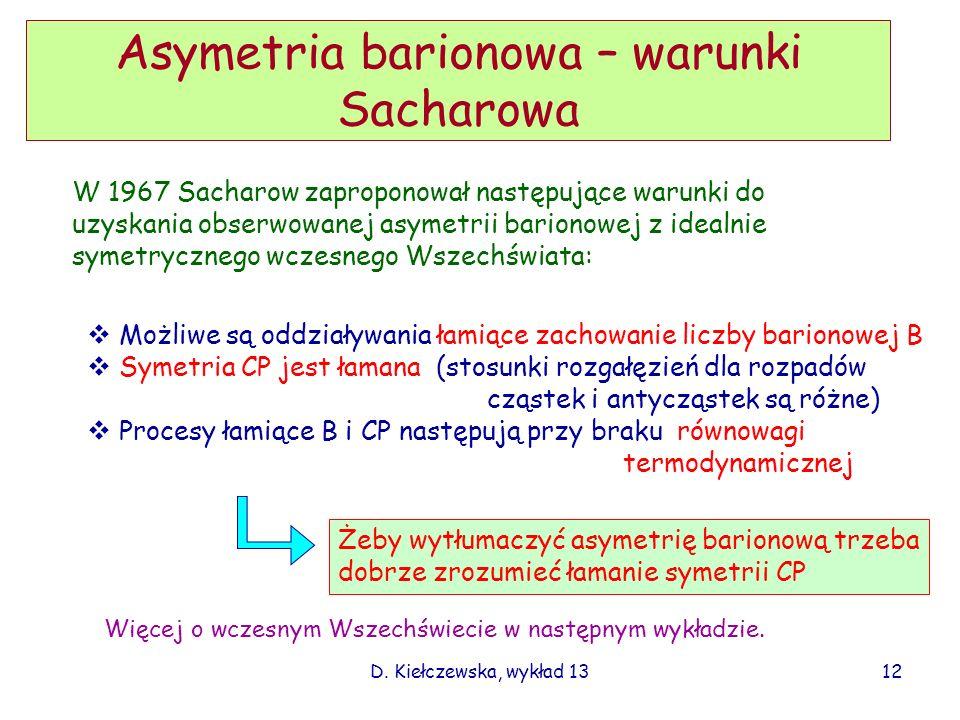 Asymetria barionowa – warunki Sacharowa