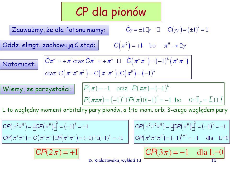 CP dla pionów Zauważmy, że dla fotonu mamy: