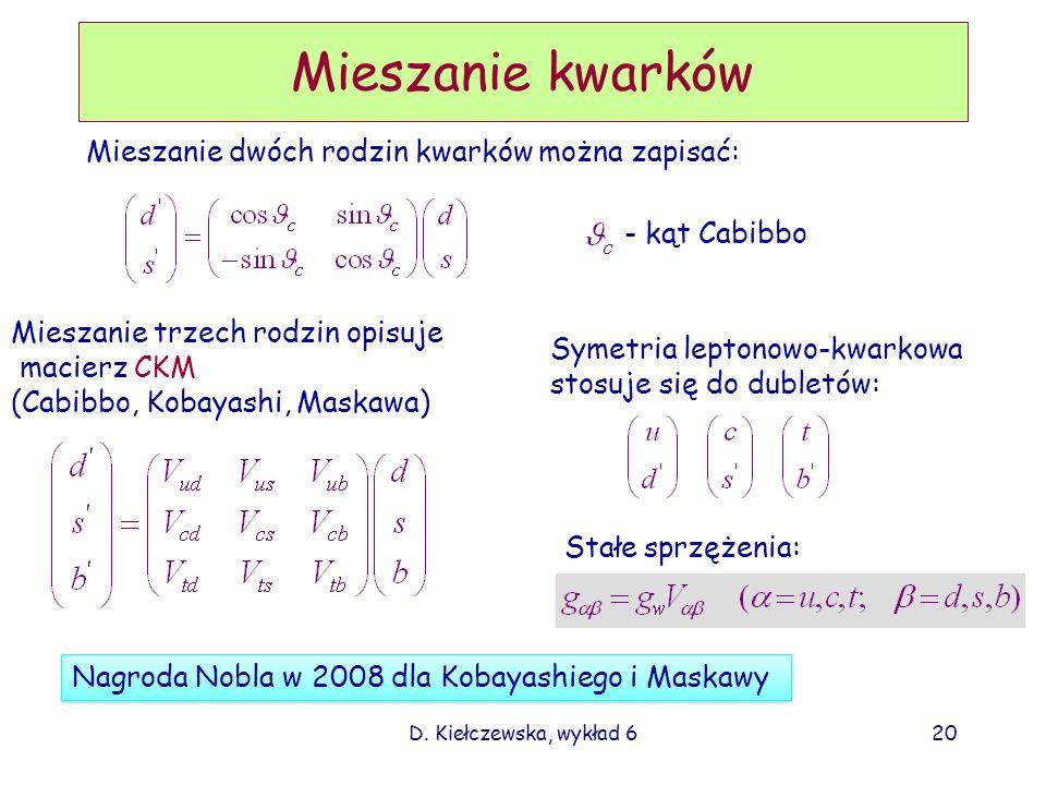 Mieszanie kwarków Mieszanie dwóch rodzin kwarków można zapisać: