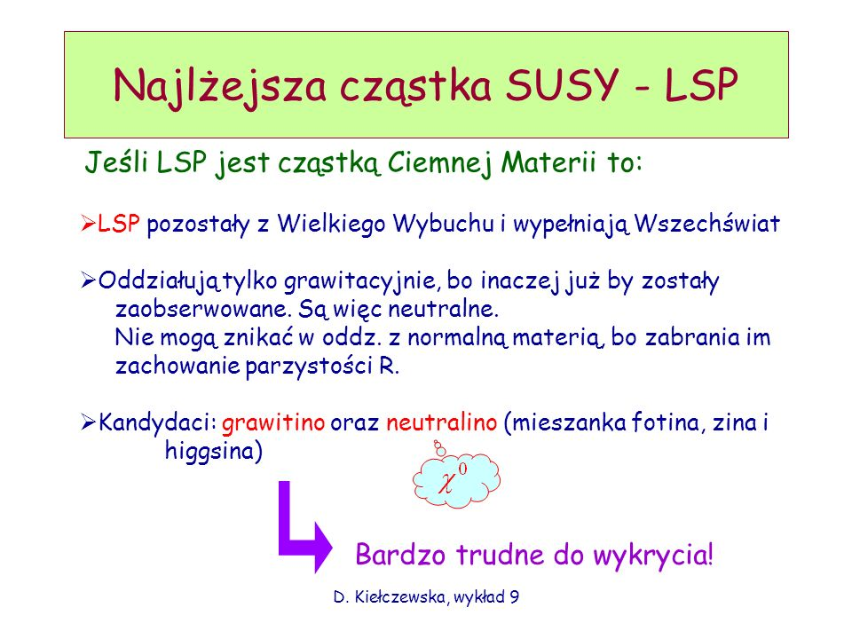 Najlżejsza cząstka SUSY - LSP