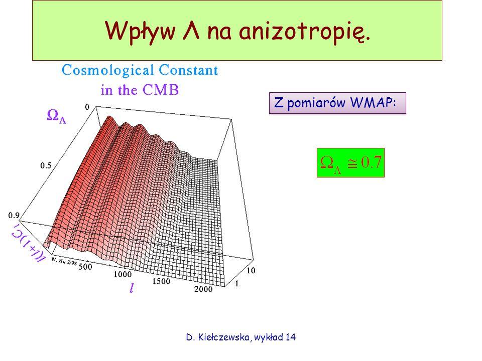 Wpływ Λ na anizotropię. Z pomiarów WMAP: D. Kiełczewska, wykład 14