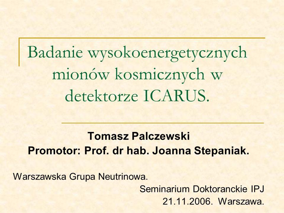 Badanie wysokoenergetycznych mionów kosmicznych w detektorze ICARUS.
