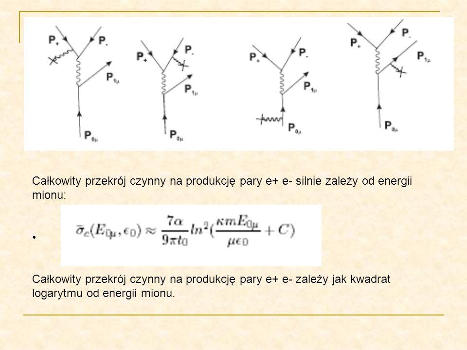 Całkowity przekrój czynny na produkcję pary e+ e- silnie zależy od energii mionu: