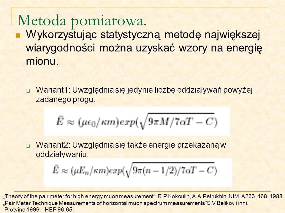 Metoda pomiarowa. Wykorzystując statystyczną metodę największej wiarygodności można uzyskać wzory na energię mionu.