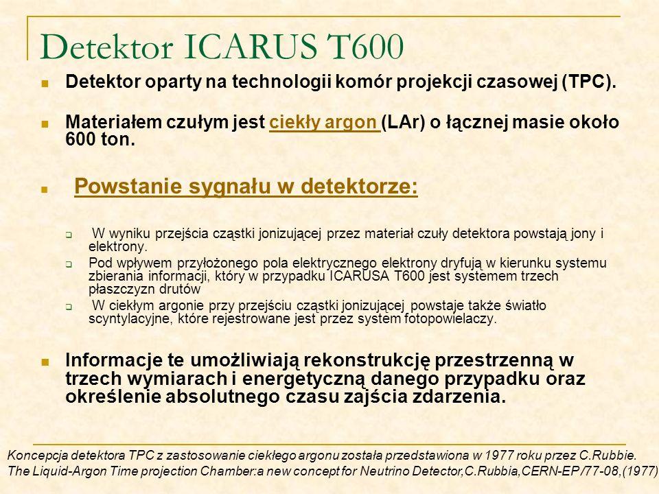 Detektor ICARUS T600 Detektor oparty na technologii komór projekcji czasowej (TPC).