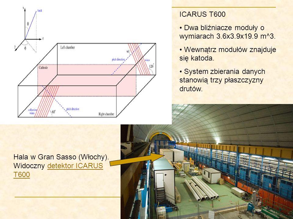 ICARUS T600 Dwa bliźniacze moduły o wymiarach 3.6x3.9x19.9 m^3. Wewnątrz modułów znajduje się katoda.