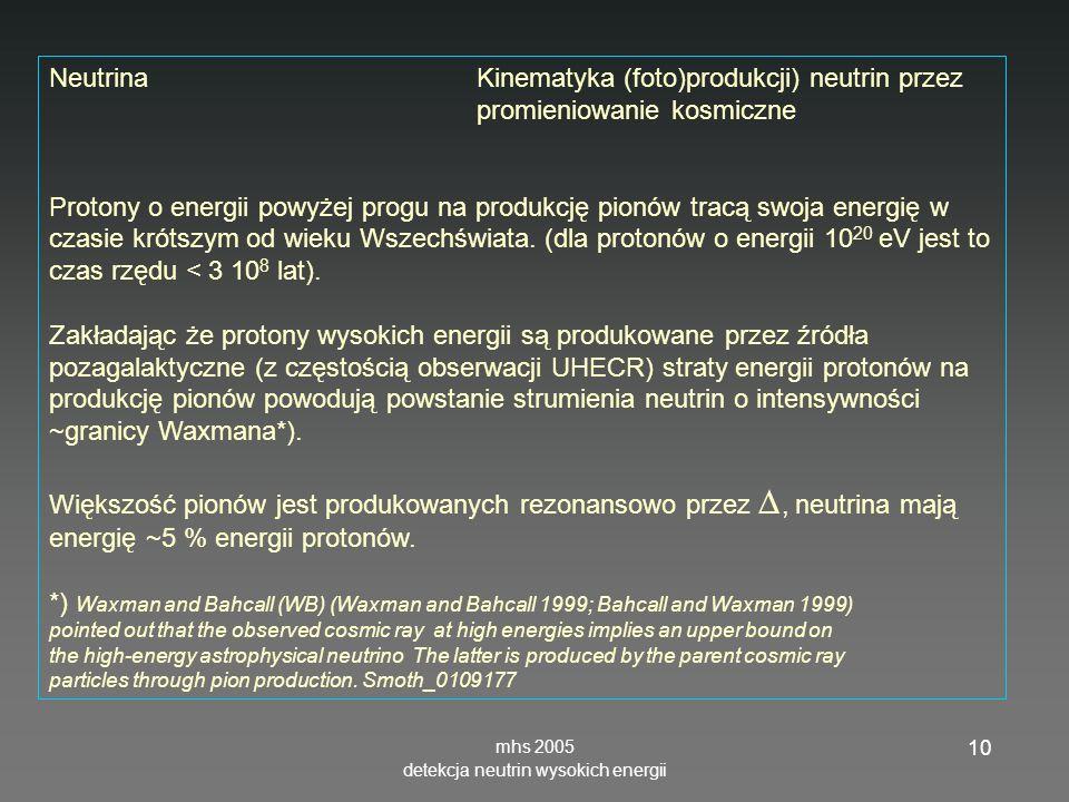 detekcja neutrin wysokich energii