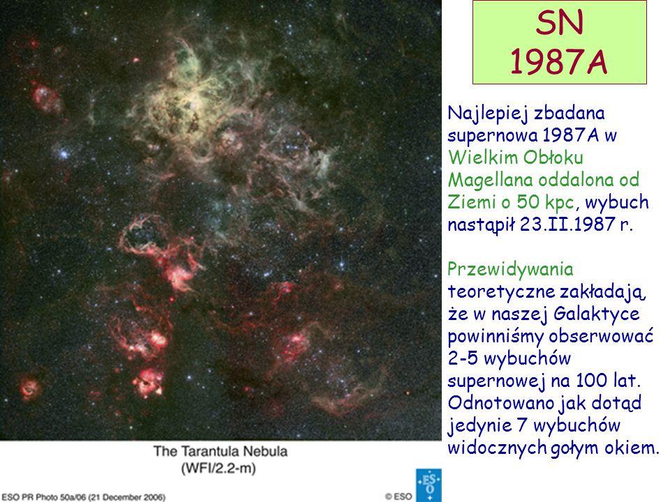 SN 1987A Najlepiej zbadana supernowa 1987A w Wielkim Obłoku Magellana oddalona od Ziemi o 50 kpc, wybuch nastąpił 23.II.1987 r.
