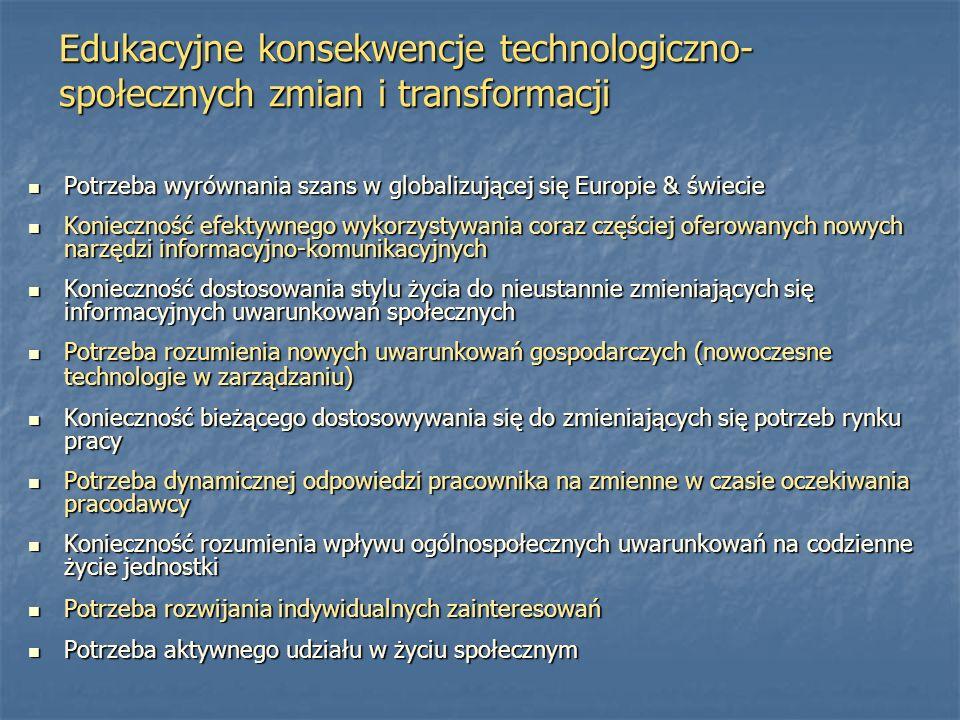 Edukacyjne konsekwencje technologiczno-społecznych zmian i transformacji