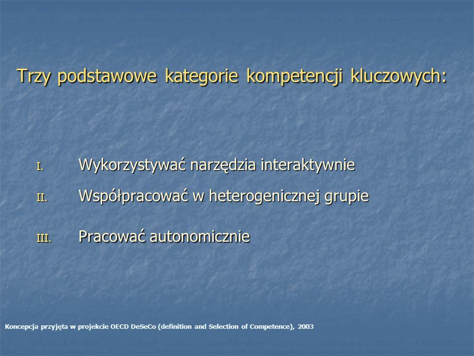 Trzy podstawowe kategorie kompetencji kluczowych: