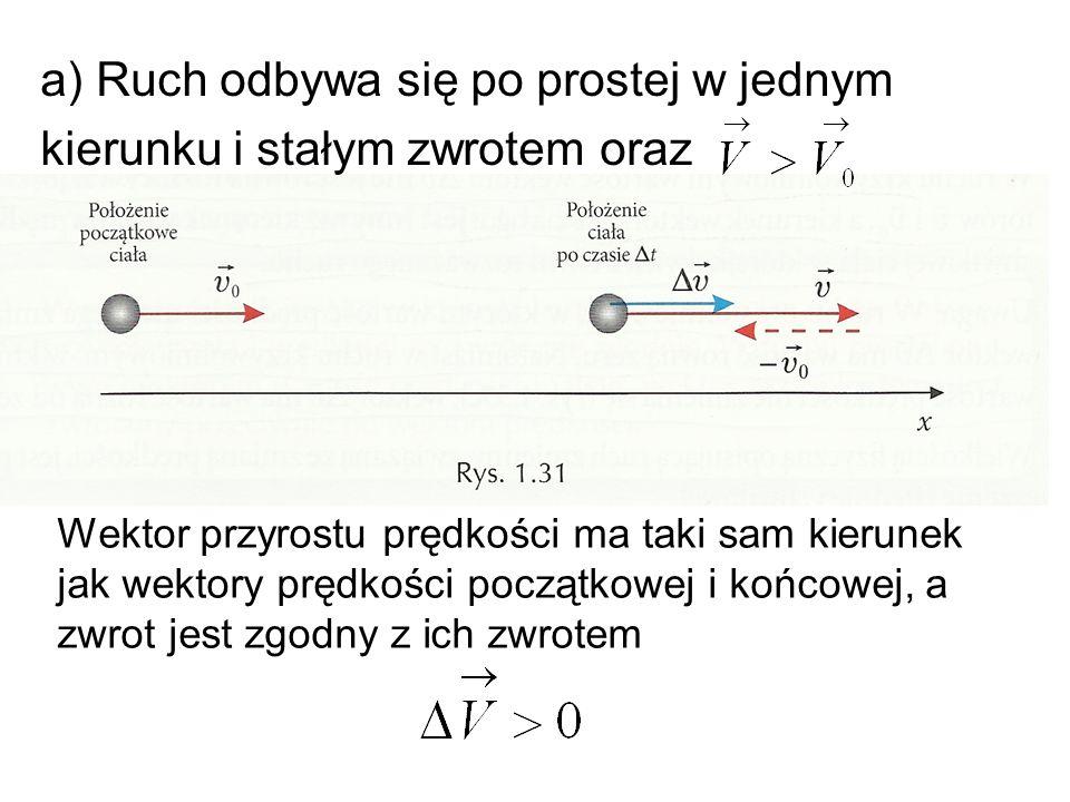 a) Ruch odbywa się po prostej w jednym kierunku i stałym zwrotem oraz