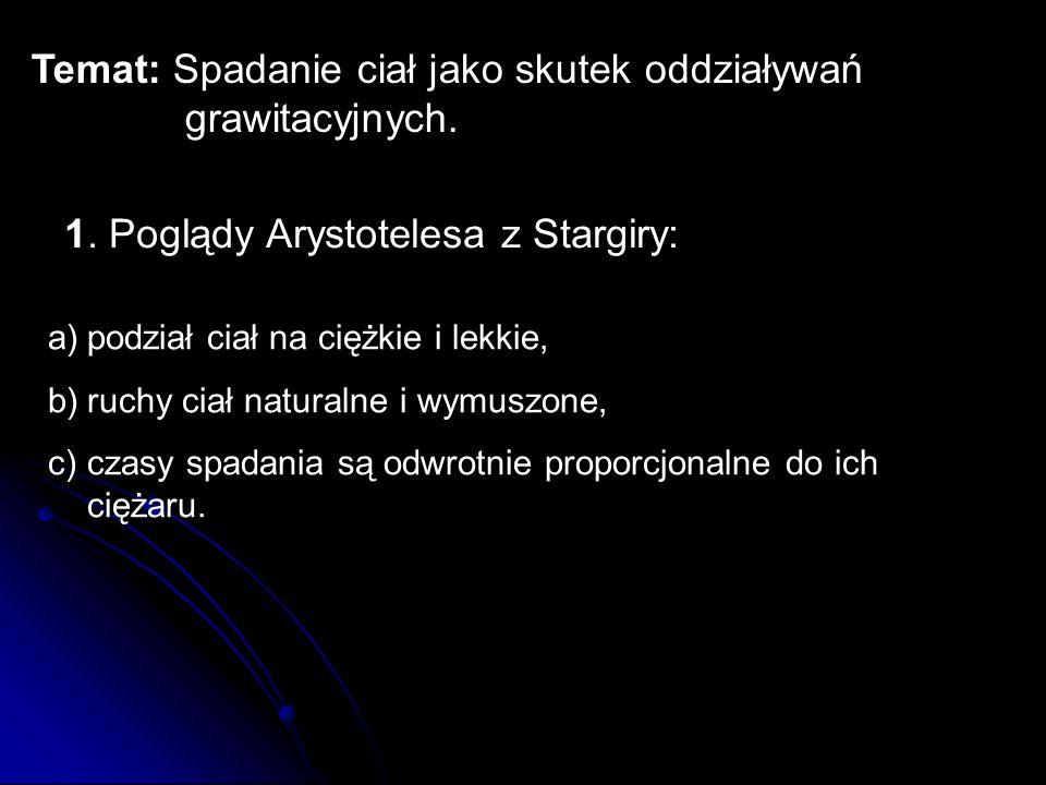 Temat: Spadanie ciał jako skutek oddziaływań grawitacyjnych.