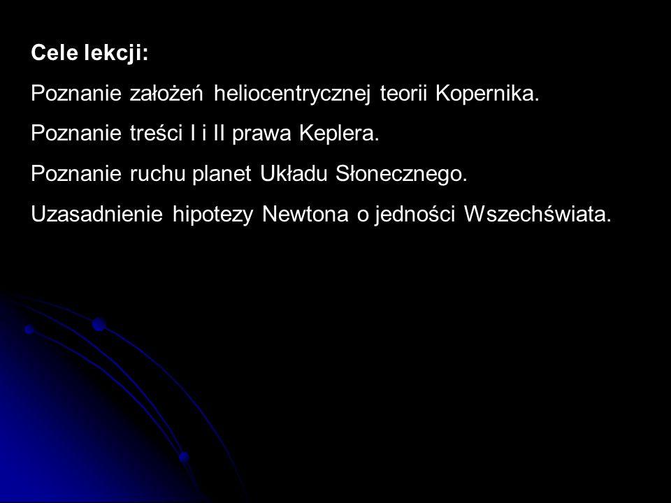 Cele lekcji:Poznanie założeń heliocentrycznej teorii Kopernika. Poznanie treści I i II prawa Keplera.