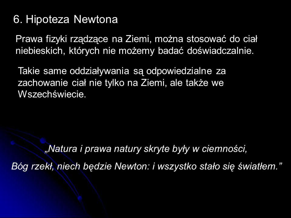 6. Hipoteza Newtona Prawa fizyki rządzące na Ziemi, można stosować do ciał niebieskich, których nie możemy badać doświadczalnie.