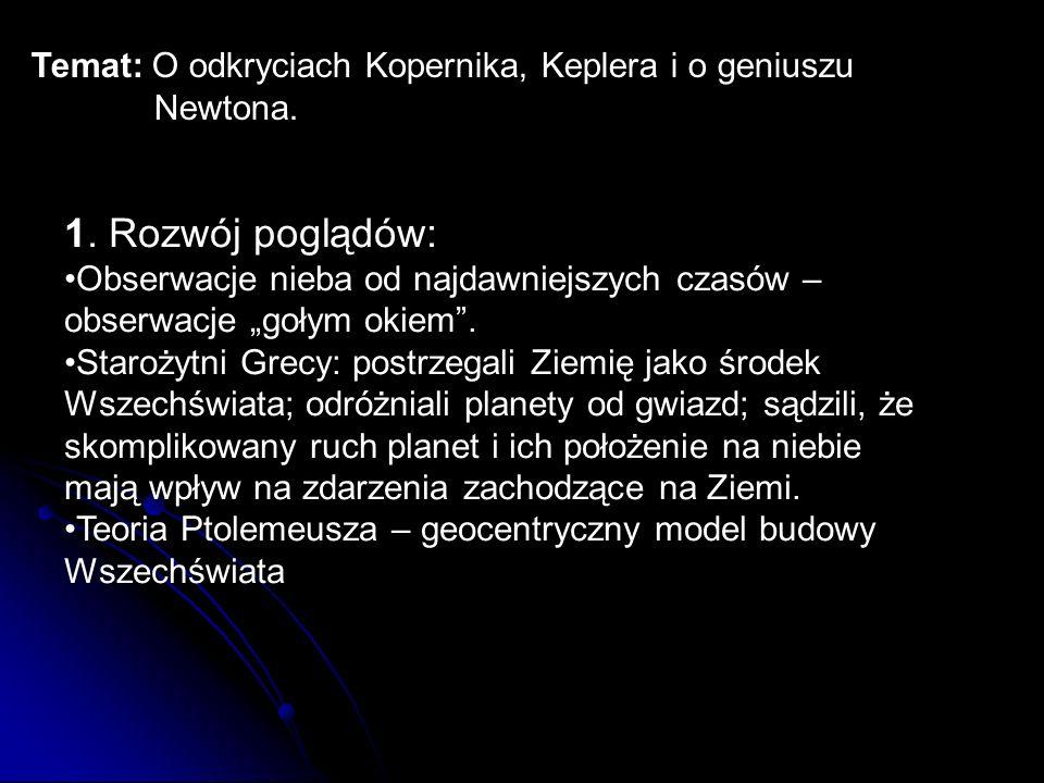 Temat: O odkryciach Kopernika, Keplera i o geniuszu Newtona.