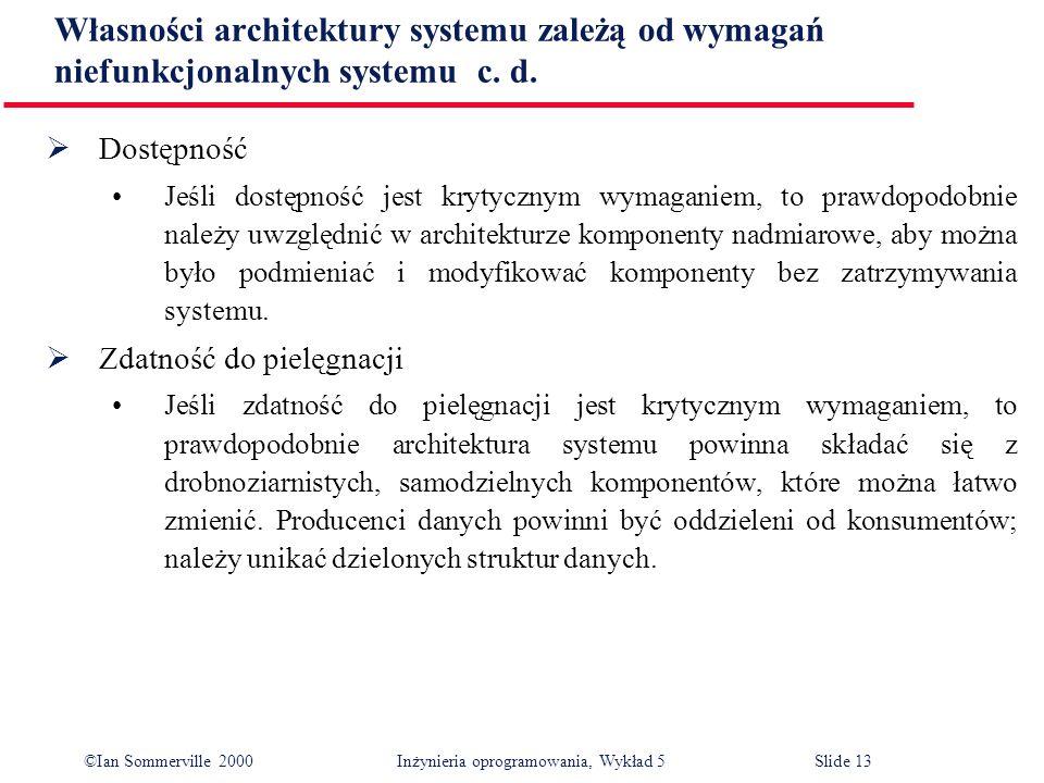 Własności architektury systemu zależą od wymagań niefunkcjonalnych systemu c. d.