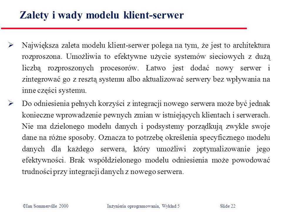 Zalety i wady modelu klient-serwer