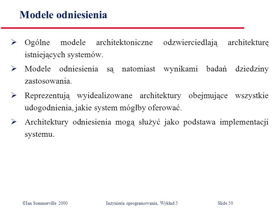 Modele odniesienia Ogólne modele architektoniczne odzwierciedlają architekturę istniejących systemów.