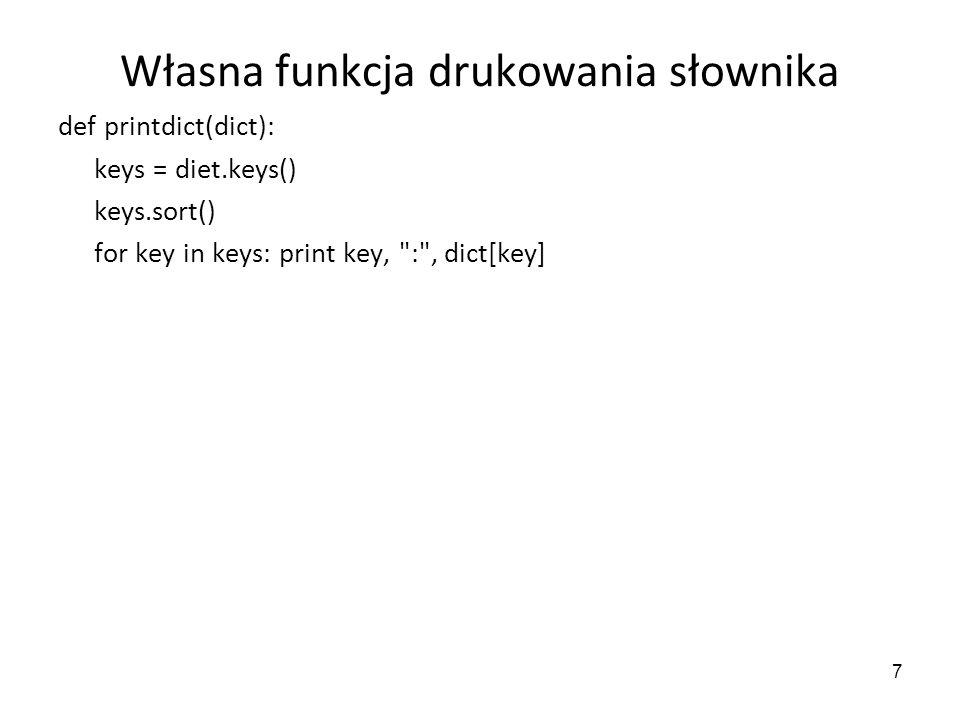 Własna funkcja drukowania słownika