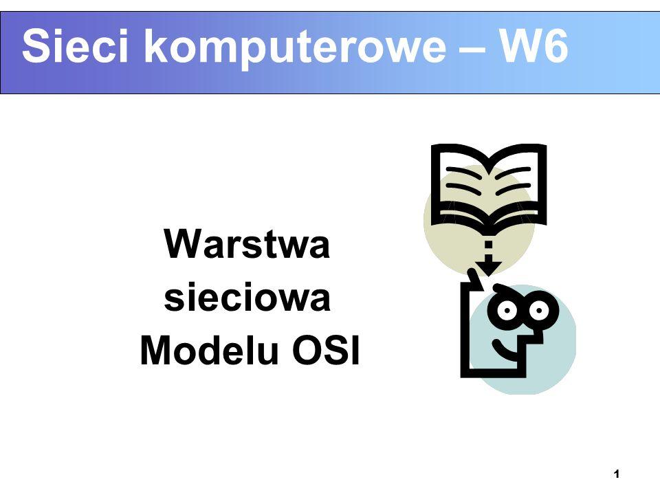 Sieci komputerowe – W6 Warstwa sieciowa Modelu OSI