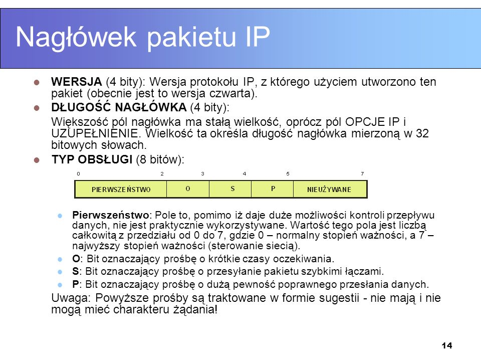 Nagłówek pakietu IP WERSJA (4 bity): Wersja protokołu IP, z którego użyciem utworzono ten pakiet (obecnie jest to wersja czwarta).