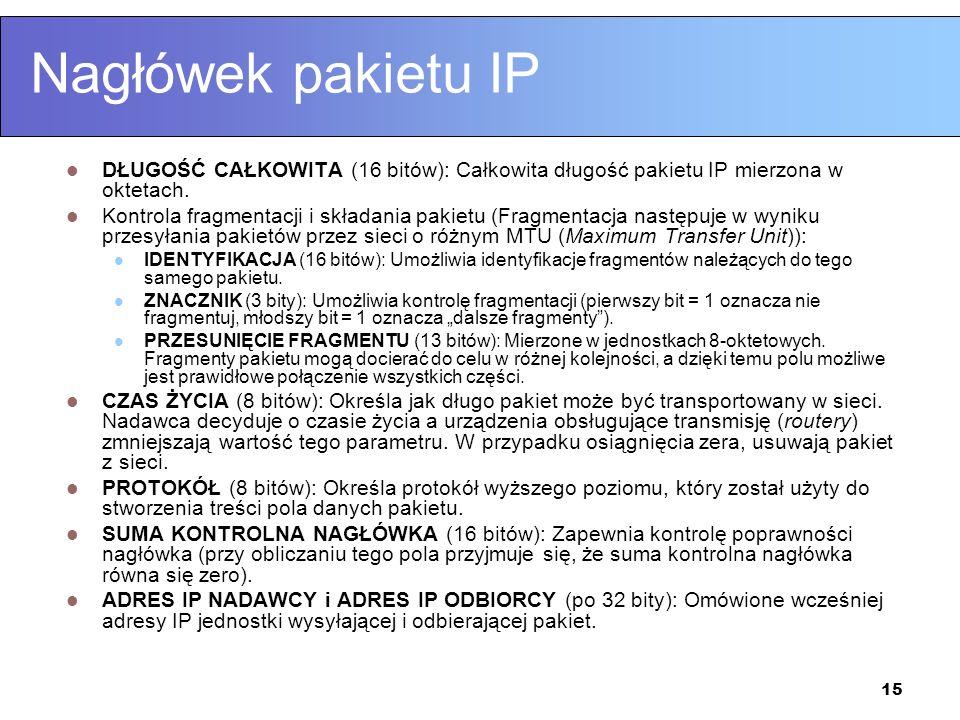 Nagłówek pakietu IP DŁUGOŚĆ CAŁKOWITA (16 bitów): Całkowita długość pakietu IP mierzona w oktetach.