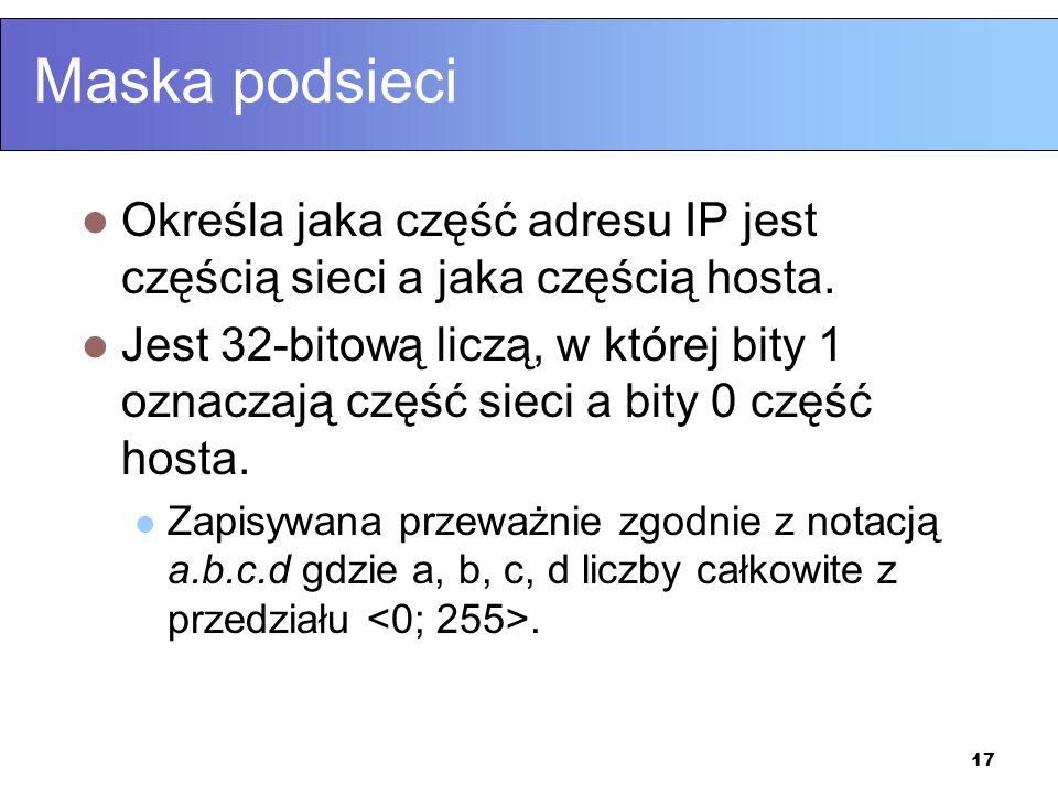Maska podsieci Określa jaka część adresu IP jest częścią sieci a jaka częścią hosta.