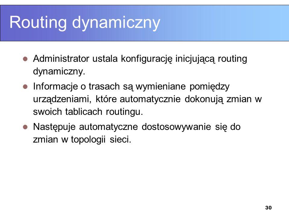 Routing dynamiczny Administrator ustala konfigurację inicjującą routing dynamiczny.