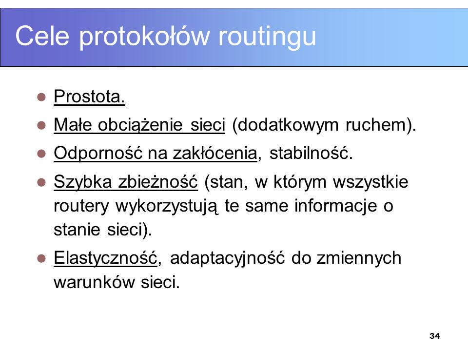 Cele protokołów routingu
