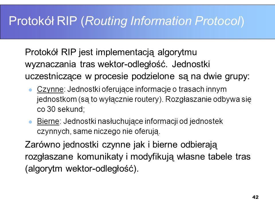 Protokół RIP (Routing Information Protocol)