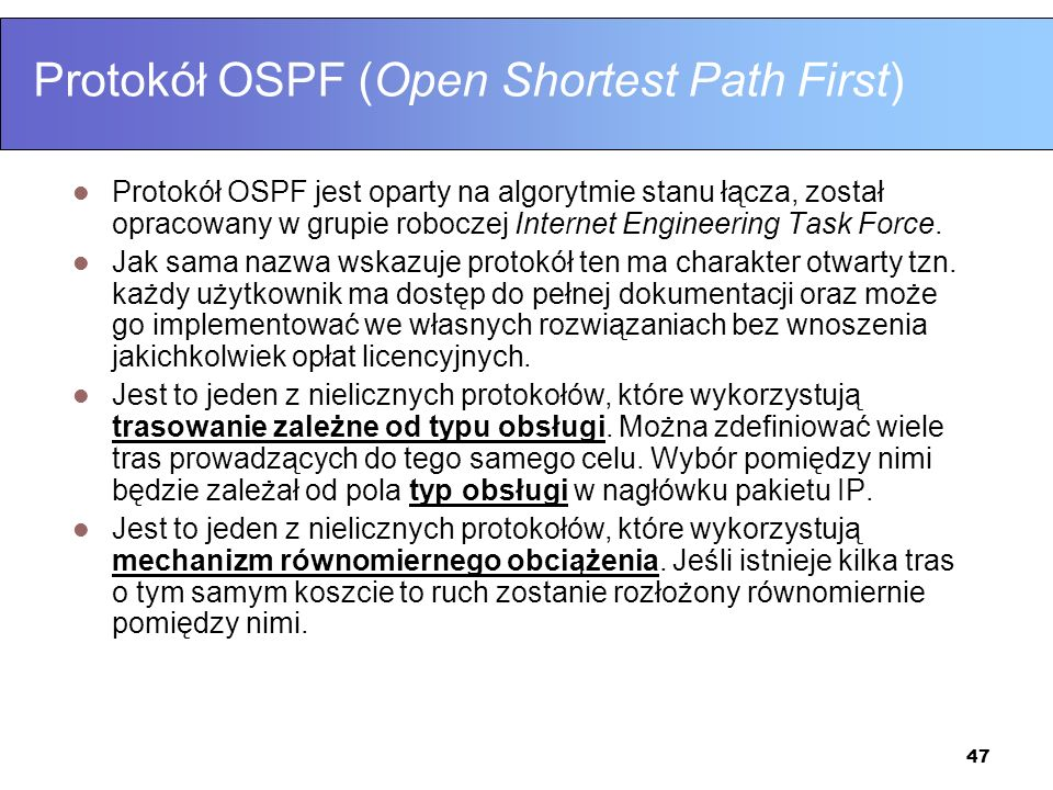 Protokół OSPF (Open Shortest Path First)
