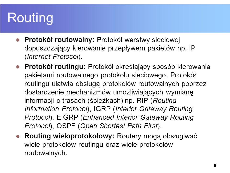 Routing Protokół routowalny: Protokół warstwy sieciowej dopuszczający kierowanie przepływem pakietów np. IP (Internet Protocol).
