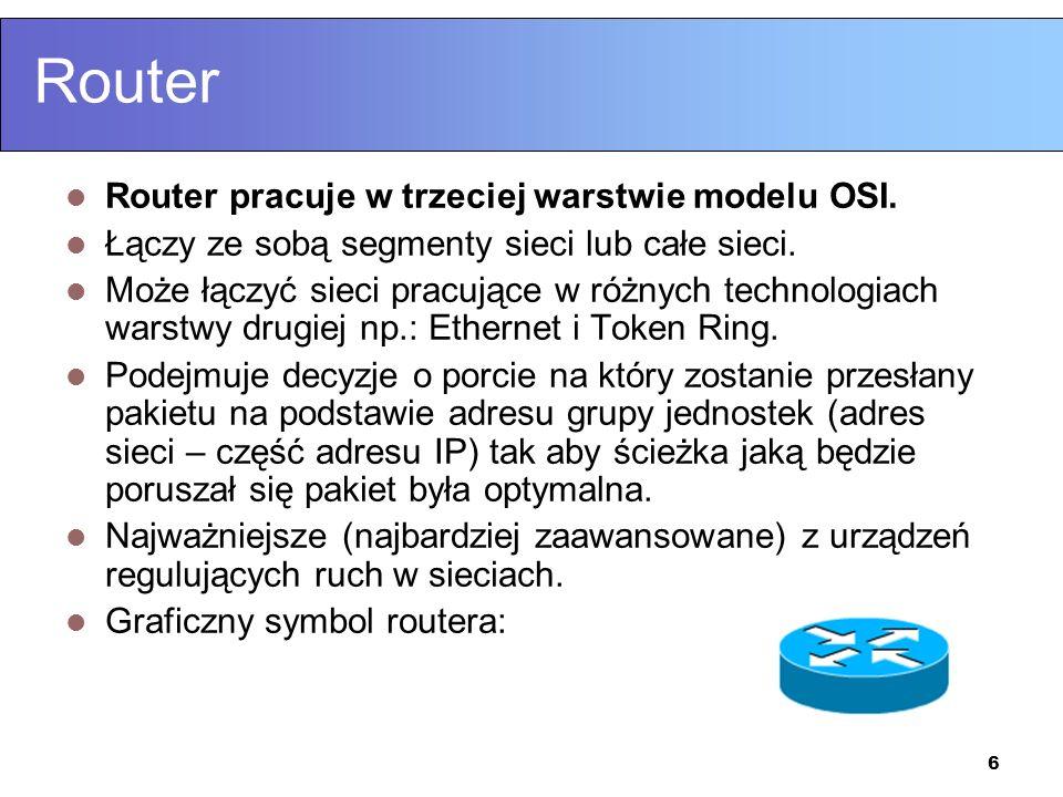 Router Router pracuje w trzeciej warstwie modelu OSI.