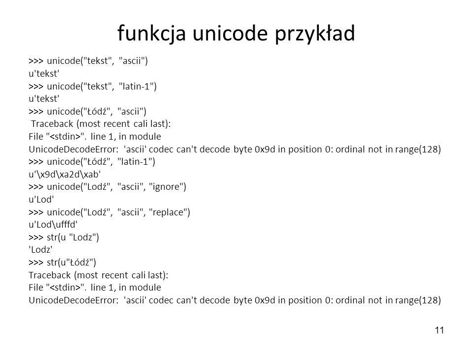 funkcja unicode przykład
