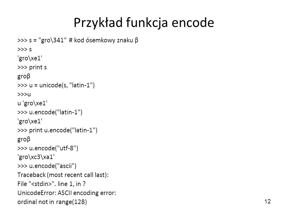 Przykład funkcja encode
